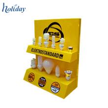 Merchandising promocional dos niveles tableros de exhibición de cartón de la mesa para bombillas, exhibición de la cubierta de la cartulina