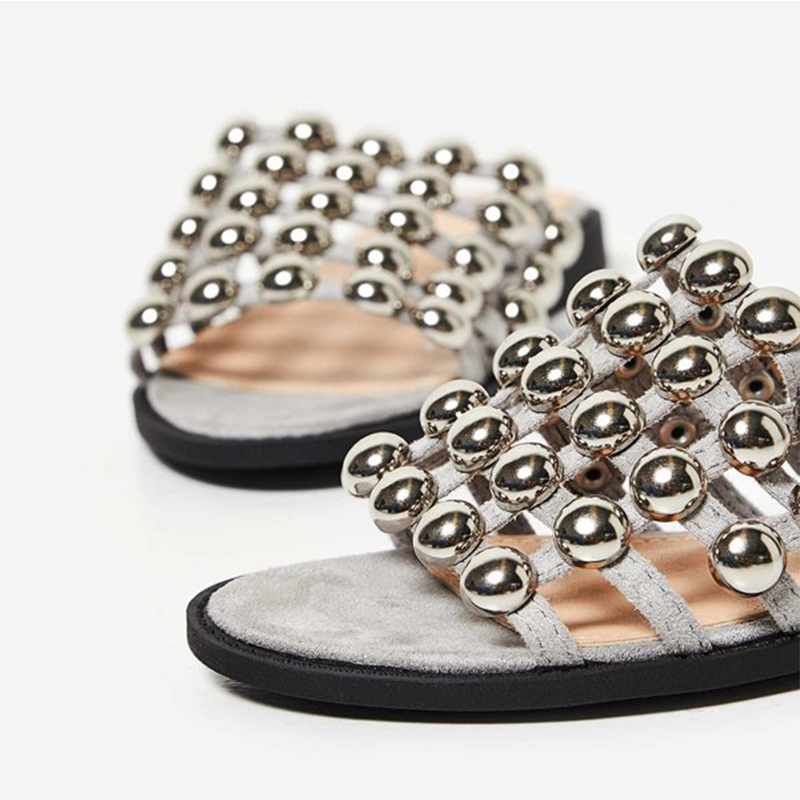 summer comfortable rivet flat slipper for girl
