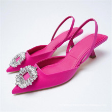 Womens Summer Shoes Solid Color Summer Pointed Sandals Kitten Heels Retro Holiday