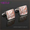 VAGULA Gemelos Stainless Steel Red Wood Cufflinks 359