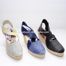 2015 direto da fábrica Atacado novo estilo de alta qualidade de impressão de juta sapatos espadrille