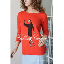 Damen Rundhals Pullover mit Intarsia CIP1104L