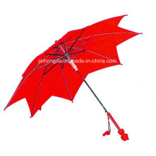 Red Leaf Cover Fiberglass Rain and Sun Straight Umbrella (YSC0010)
