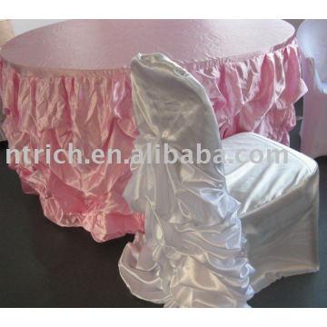 Linda toalha de mesa cetim & tampa da cadeira do casamento