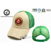 Straw Mesh Baseball Cap with Logo Embroidery & Bottle Opener