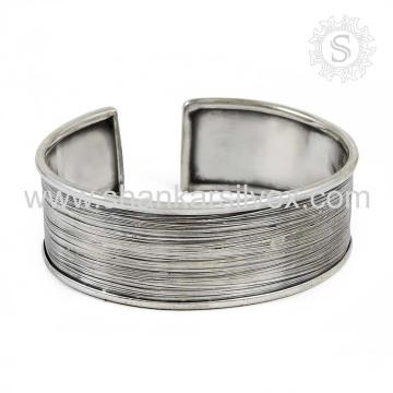 Simple Plain Silver Bangle Design 925 Jóias de Prata Jóias de Prata Atacado Índia