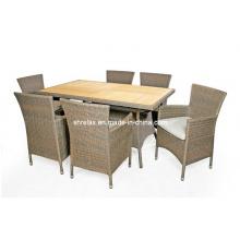 Mobília de vime do jardim cadeira mesa Rattan, jantando o jogo