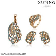 64185 wholesale china factory fashion delicate elegant aquamarine zircon stone gold plated jewelry sets