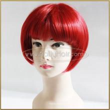 Court Bob Rouge Vin Couleur Cheveux Peut Teindre Dentelle Front Soie Top Synthétique Perruque
