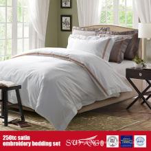 Roupa de cama luxuoso do bordado do cetim do algodão do linho de cama 250TC da qualidade para hotéis