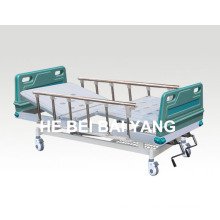 (A-64) -- Movable Double-Function Manual Hospital Bed with ABS Bed Head