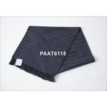 Black Stripe Long Woven Silk Scarf 100 % Pashmina For Men