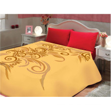solid color flower print & carved cheap polyester blanket