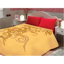 Цельный цвет цветок принт & вырезанный дешевый полиэстер одеяло