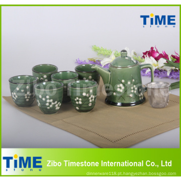 Conjunto de chá vintage de cerâmica 9 peças feito na China