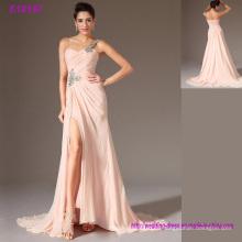 последняя Коллекция одно плечо левое сплит элегантный вечернее платье