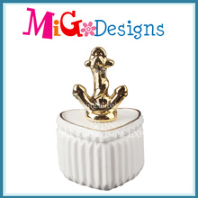 White Ceramic Jewelry Box with Anchor Lid