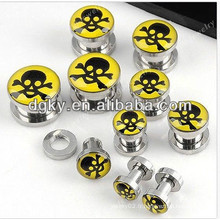 Cool skull logo piercing ear plug jewelry