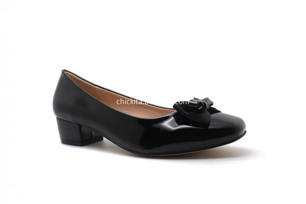 Classic Patent PU Bowknot Heel Shoe