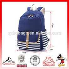 Canvas School Backpack Striped Cute Laptop Bag for Teens Boys Girls Students