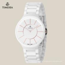Moda novo estilo cerâmico presente relógio de pulso de quartzo 71073