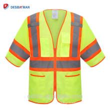 Gilet réfléchissant de sécurité de visibilité élevée en gros de logo fait sur commande avec la norme ANSI Classe 3, vêtements réfléchissants, maillots de Viz élevés