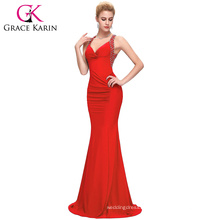 6 colors Grace Karin Ladies Backless Long Sexy Red Evening Dress with Stretch CL6080-2
