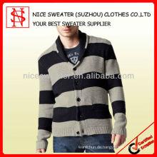 Stripes Long Sleeve Mans Shawl Kragen Strickjacke