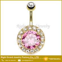 Banhado a ouro Prong Set 14G Grande Rosa Cubic Zircon Umbigo Anel Jóias