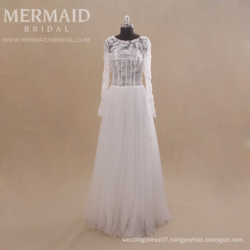 long sleeve beaded civil bohemian guangzhou wedding dress with handmade flowers