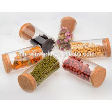 Pot de stockage de verre de récipient d'huile de cire antiadhésive fait sur commande hermétique avec le couvercle de liège