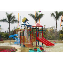 Kids' Water House Playground Structures With Water Slide, Climb Net, Water Spray