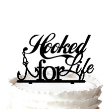 """Hooked for Life"" Fishing Silhouette Wedding Cake Topper"
