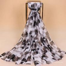 Meilleure vente foulard en tissu de voile de coton multicolore écharpe à carreaux tartan imprimé