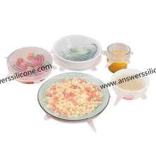 Conjunto de 6 tampas extensíveis de silicone flexível de grau alimentício