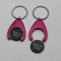 Plastic Trolley Coin Keyrings With Logo
