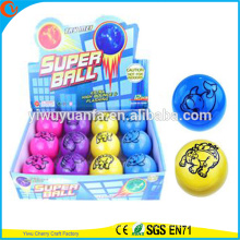 High Qulity Kid's Toy LED Borracha 75mm Animal impresso Flashing Air Bouncy Ball