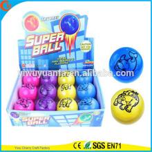 Высокая qulity детские игрушки светодиодный резиновый 75мм животных отпечатано мигающий воздуха надувной мяч