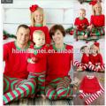 Pijamas de Navidad de color rojo y blanco al por mayor Pijamas de Navidad en tamaño de niños y tamaño adulto
