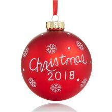 2018 ornement suspendu de boule de verre de logo adapté aux besoins du client de Noël