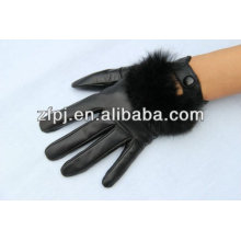 2016 new arrival fashion Ladies leather fur lined gloves