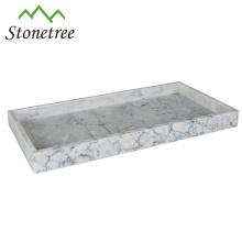 Plateau de vanité 100% marbre, 16 x 8 pouces