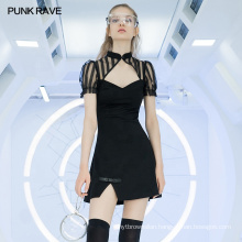 Chinese style stringy selvedge puff sleeve dress OPQ-753LQF Improved cheongsam dress  Gothic black sexy dress