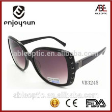 lady big size acetate frame fashion sunglasses with nice metal decorated frame