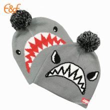 Acrylic Beanie Knit Winter Hat With Pom Pom For Children