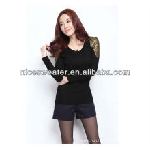 Golden lace shoulder ladies knitted metallic sweater