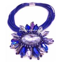 Collier de déclaration en cristal bleu de luxe de Bling Bling Bling de mode de luxe