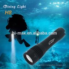 Hi-max Protable taille de la lumière de secours cree xm-l T6 led lampe torche en argent