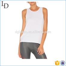 Tanktop branco liso com costas abertas V design low cut tank para mulheres
