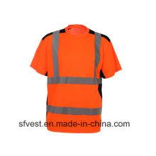 Klasse 2 100% Polyester Sicherheit Reflektierende Polo Rundhalsausschnitt mit Mischfarbe